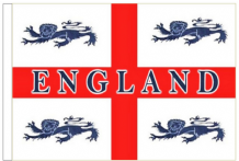 "England 4 Lions 18"" x 12"" (45cm x 30cm) Sleeved Boat Flag"